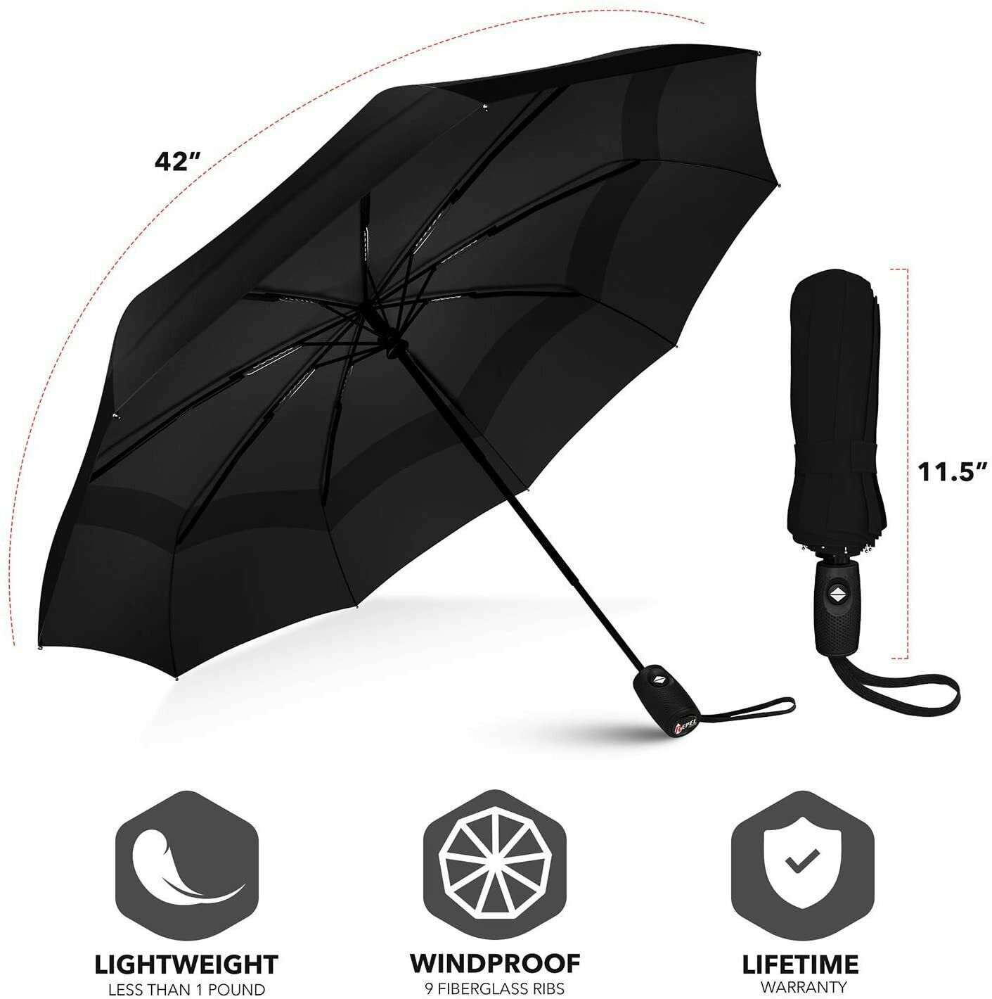 [BEST] Windproof Double Vented Travel Umbrella with Teflon Coating