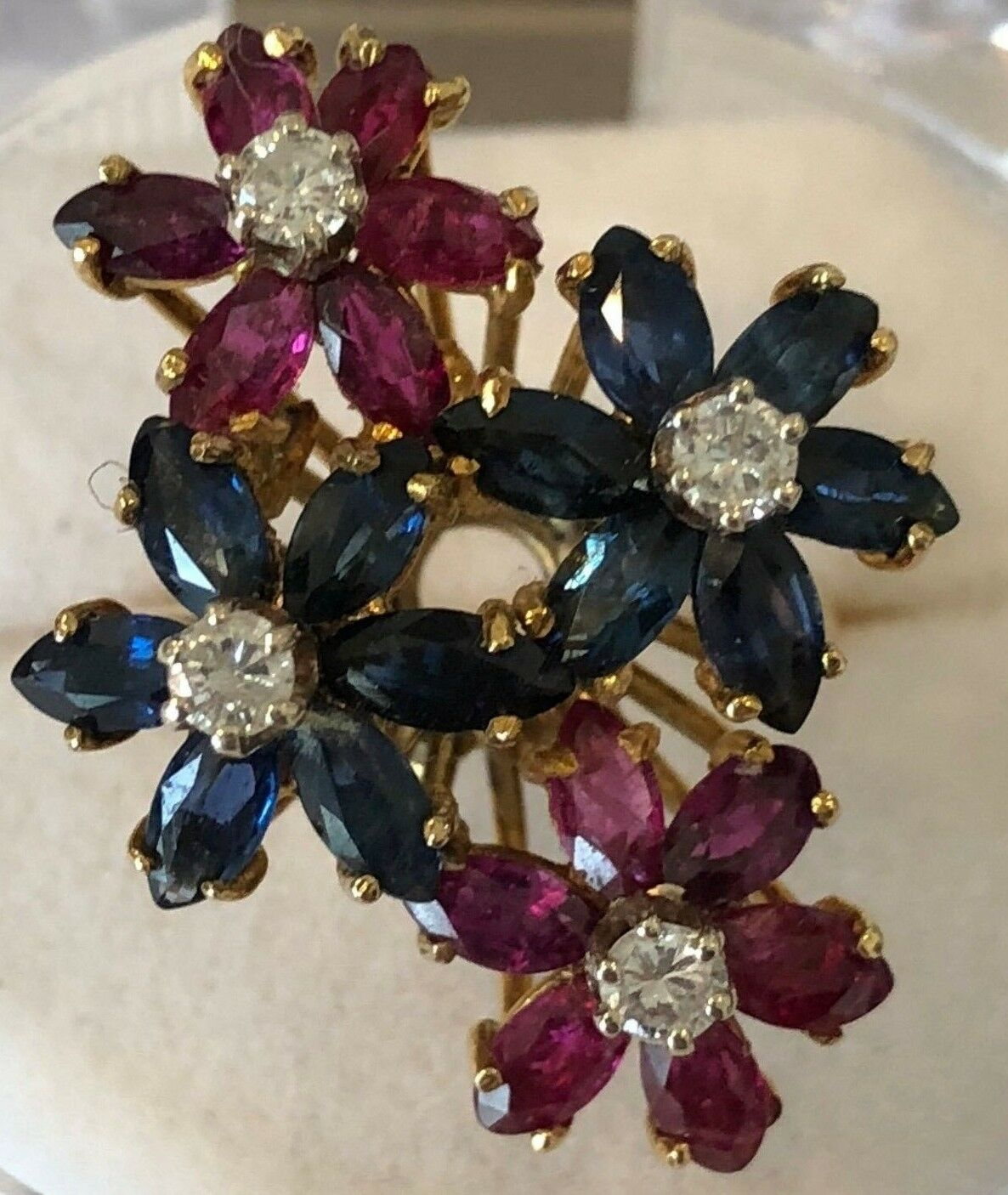 Beautiful 18k diamond ruby sapphire multi flower ring