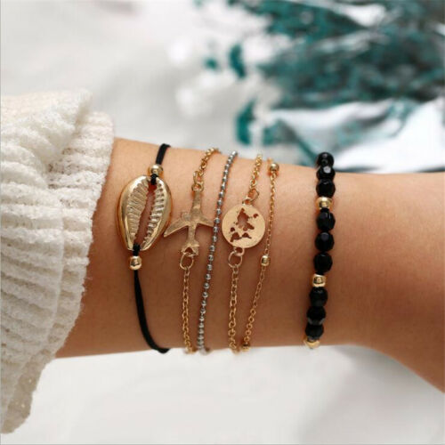 6Pcs Fashion Women Lady Boho Shell Airplane Beaded Map Bracelet Bangle Jewelry