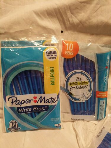Details about  /papermate pens ballpoint blue ink five 10 count packs.
