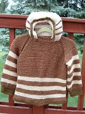 Brown /white Hand Knitted wool Sweater striped Hoodie Pullover  size 6-8