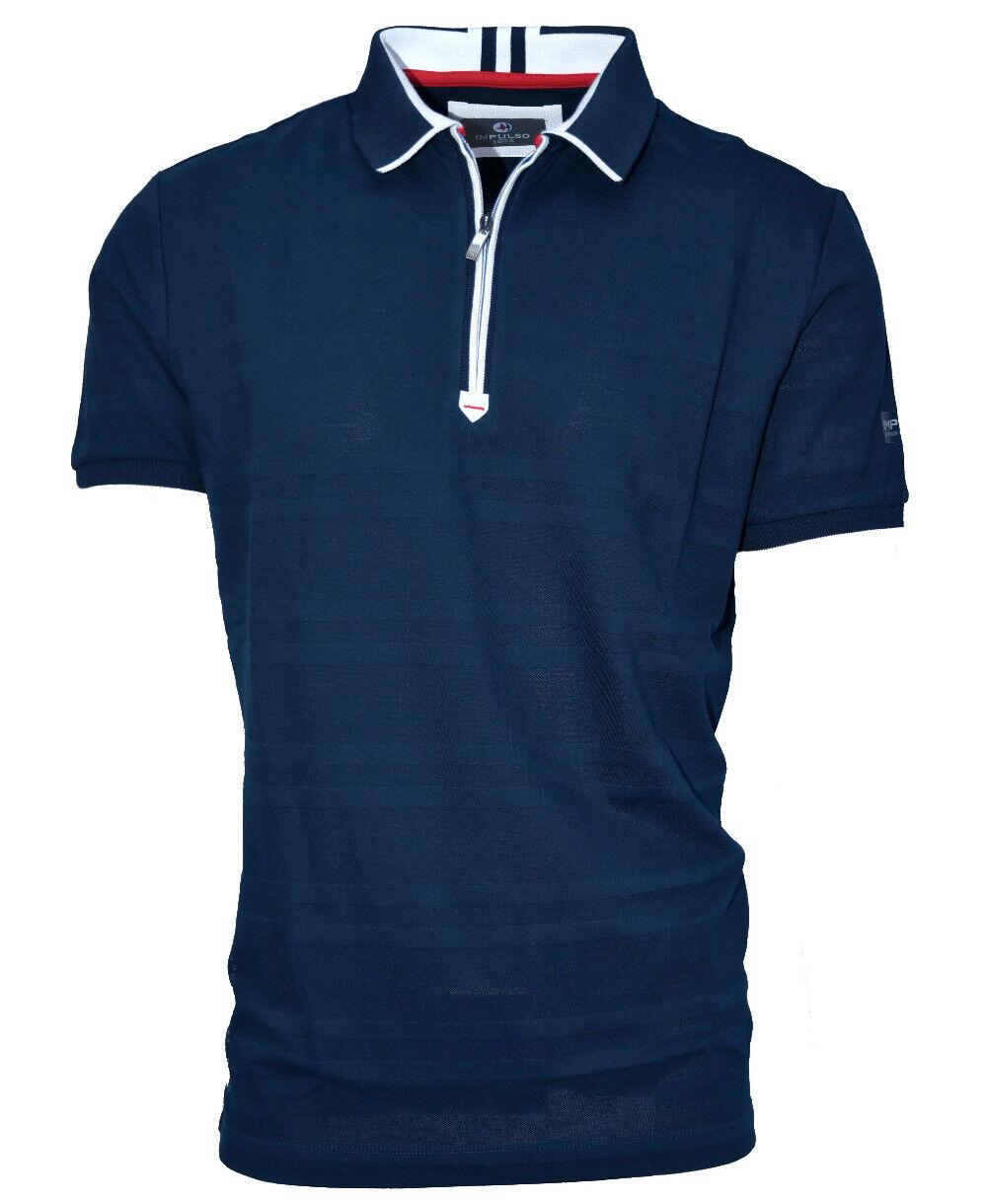 Poloshirt Impulso  Strukturstreifen dunkelblau weiss weiss weiss mit Zipper Gr. M-3XL   Schön  71df32