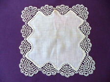 Vintage Wedding Hankie Fancy Lace Border Scalloped Edge White Bridal Small 9""