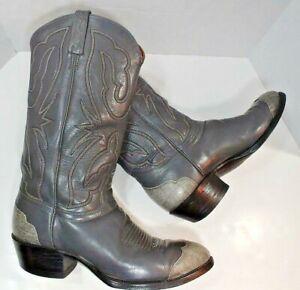 863f4859ef9 J Chisholm Fine Western Cowboy BOOTS GRAY Leather USA Handmade Mens ...