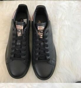 eeb06c79723 NWOB adidas Core Black W Rose Gold STAN SMITH Classic Trainers ...