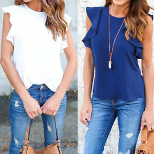 Women-039-s-Loose-Casual-Short-Sleeve-Ruffle-Sleeve-Chiffon-Top-T-Shirt-Cool-Blouse