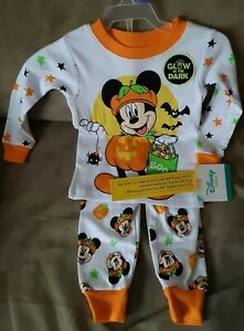 Boy/'s Disney Baby Glow Mickey Mouse Halloween Pajamas 9 NEW 12 or 24 months