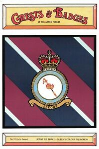 Postcard-RAF-Royal-Air-Force-Queen-039-s-Colour-Squadron-Crest-Badge-No-115-NEW
