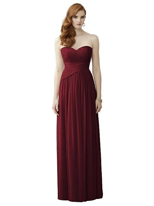 Vivian Diamond Strapless Shimmer Sz 6 Burgundy gold Prom Bridesmaids Dress 2960