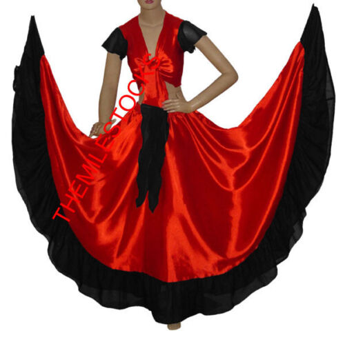 TMS RED//BLACK Desiger Ruffle Skirt Top BellyDance Costume Tribal Gypsy ROBE JUPE