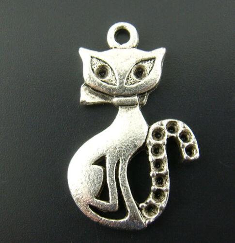 KUS 20 Antik Silber Charm Katze Kätzchen Anhänger für Kette Perlen Beads 25x16mm