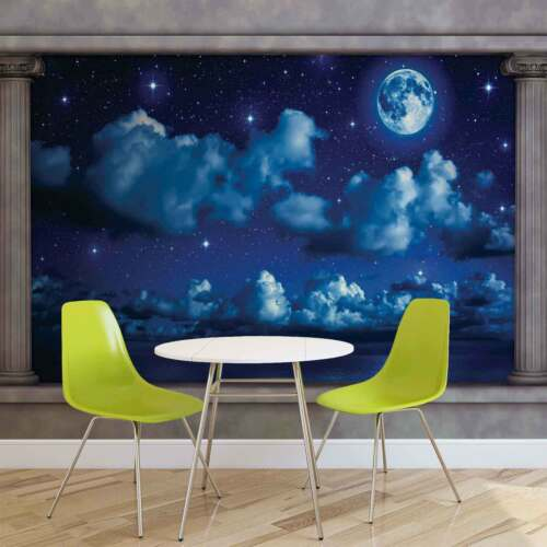 WALL MURAL PHOTO WALLPAPER XXL Blue Night Sky Window View 2873WS