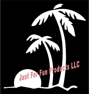PALM TREE Beach Hammock Decal Sticker Florida Hawaii Ocean Gulf Trees Surf Sea/_/_