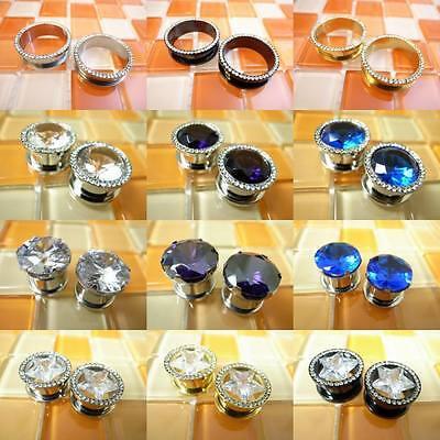Top 12 Items Multiple Style & Size Glitter Crystal Steel Flesh Tunnels Ear Plugs