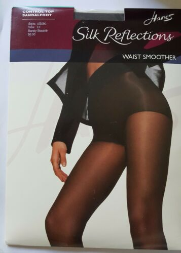HANES SILK REFLECTIONS WAIST SMOOTHER CONTROL TOP SANDALFOOT PANTYHOSE SZ:EF