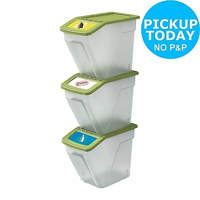 HOME 34 Litre Plastic Recycling Bins - Set of 3