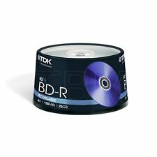 50 TDK Blu Ray BDR 25gb Recordable (4x) 135Min BLU-RAY Disc T43009 Spindle