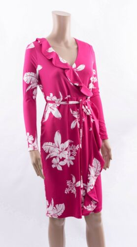 M/&S Collection Floral Print Ruffle Wrap Pink Tea Midi Dress