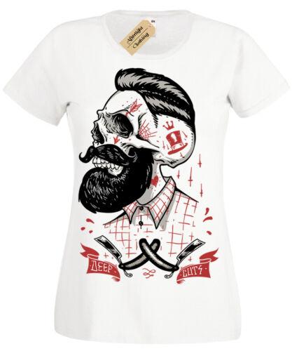 Tief Cuts T-Shirt Damen Rockabilly Friseursalon Hipster Bart Rasierer Damen