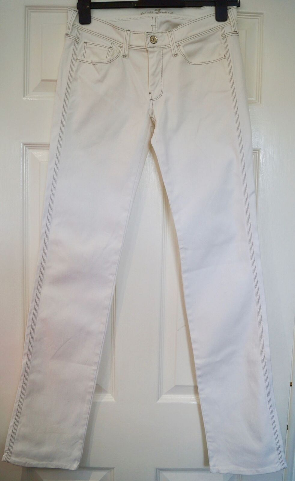 7 FOR ALL MANKIND Women's White STRAIGHT LEG Cotton Blend Denim Jeans 27