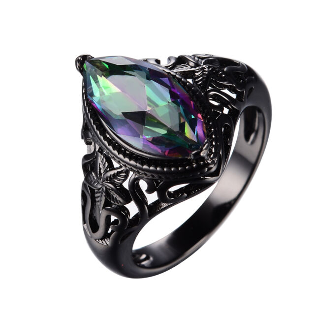 Mystic Marquise Cut Rainbow Sapphire Wedding Ring 10KT Black Gold Filled Sz 5-11