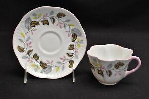 Shelley-Ferndown-14131-Dainty-Shape-Multi-Color-Leaves-Pink-Trim-Cup-amp-Saucer
