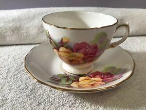 Staffordshire-England-Teacup-amp-matching-saucer-Royal-Kent-Pink-amp-Yellow-Roses-PO