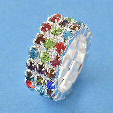 Multi Colour CZ 9K White Gold Filled Womens Ring Size 7 Adjustable F5134