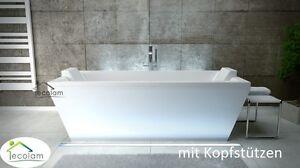 Freistehende badewanne 2 personen  Freistehende Badewanne Wanne 170 x 75 cm Schürze 2 x Kopfstütze ...