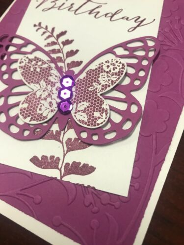 """Stampin Up Card Kit Set Of 4 /""""Happy Birthday"""" Razzleberry Butterfly"""