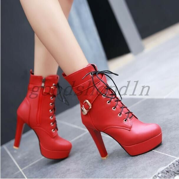 Fashion Womens Round Toe Platform High Heel LACE Up Buckle Zip Ankle Boots shoes