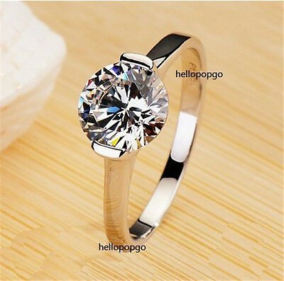 18K White Gold GP Austrian Crystal Zircon Engagement Ring Size 6,7,8,9 BR1078