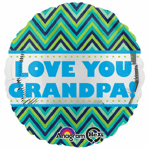 7pc Love You Grandpa Blue Lime Chevron Balloon Bouquet Party Decoration Birthday