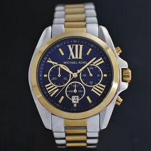 Michael-Kors-MK5976-Damenuhr-Chronograph-Edelstahl-Farbe-Silber-Gelbgold-Blau