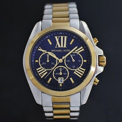 Michael Kors MK5976 Damenuhr Chronograph Edelstahl Farbe: Silber Gelbgold Blau