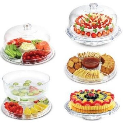 6 in 1 Multi Function Server 12-Inch Cake Stand//Dome Chip Platter Punch NEW NIB