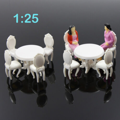 2 Sets White 1:25 Craft Kitchen Model DIY Kits Round Dining Table With Chairs G