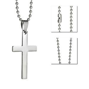 "Silver cross stainless steel pendant plain simple classic necklace 60cm 24"""