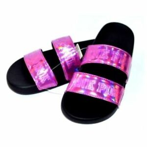 93b63f65134f94 Victoria s Secret PINK Double Strap Iridescent Slides Shoes Size ...