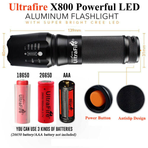 Ultrafire Flashlight 350000LM CREE T6 LED Tactical Military Torch Zoom Headlamp*