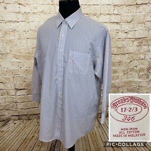 Brooks-Brothers-346-Mens-Button-Down-Dress-Shirt-17-2-3-Striped-Non-Iron
