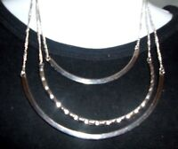 Macy's Silver Tone Tri Strand Necklace 16 W/ Smile Shaped Bars