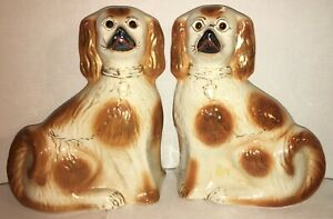 Huge-Pair-ANTIQUE-Staffordshire-Dogs-Glass-Eyes