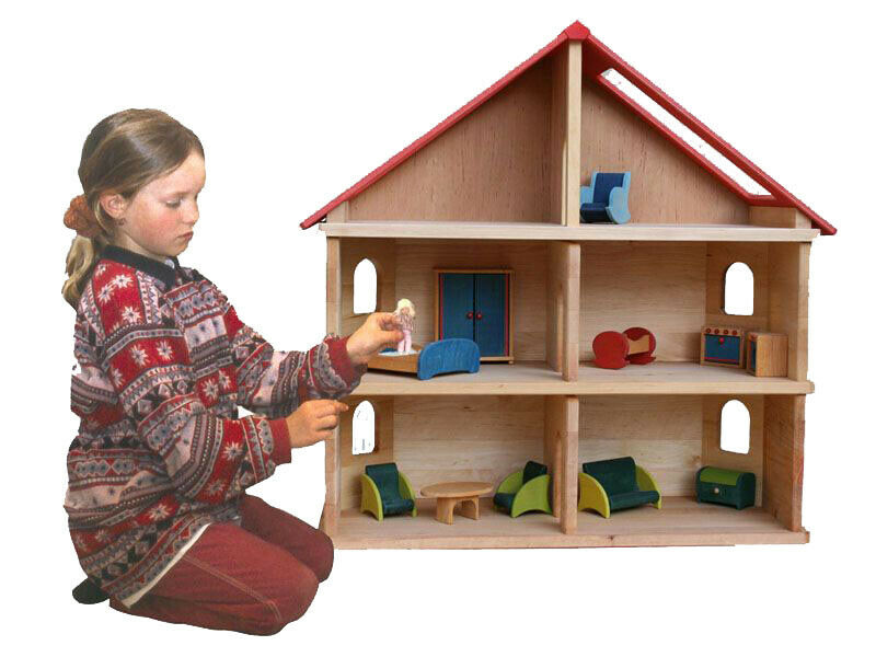 Puppenhaus Puppenstube Schöllner Kindergarten Kinderzimmer Holzspielzeug