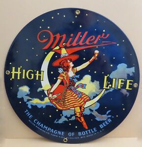 Miller High Life Girl In The Moon Ande Rooney Sign Porcelain Enameled NOS