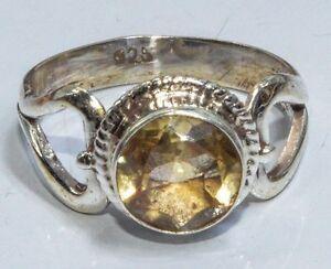 Sterling-Silber-ethno-asiatische-Vintage-Style-Yellow-Quartz-stone-Ring-Size-M-Geschenk