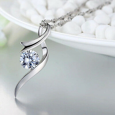 Fashion Women's Silver Plated Crystal Rhinestone Pendant Necklace Chain Jewelry