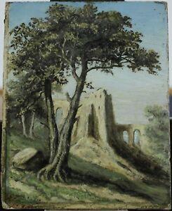 XIXe-Siecle-dans-le-gout-du-XVIIIe-Ruines-a-l-039-Antique-Petite-huile-signee