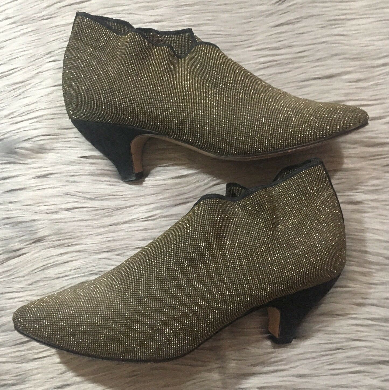 VTG Sesto Meucci Sz 8.5M Black gold Stretchy Ankle Boots Metallic  Suede