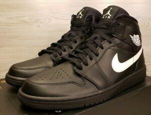851947b4c5fc45 Nike Air Jordan 1 Mid Retro Black White Basketball Fashion 554724 ...
